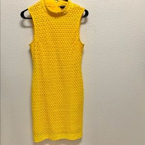 Sharagano yellow mock neck dress. Size 6
